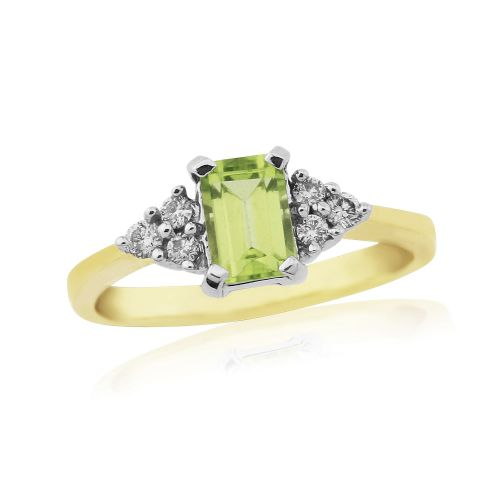 Peridot And Diamond Yellow Gold Cocktail Ring